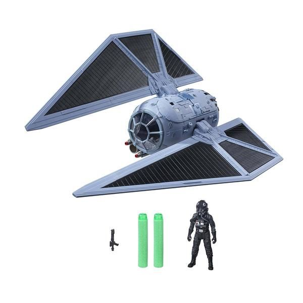 This is a Star Wars Nerf Rogue One Tie Striker Fighter Ship that's produced by the good folks over at Hasbro.  The Rogue One Tie Striker Ship fires a nerf dart