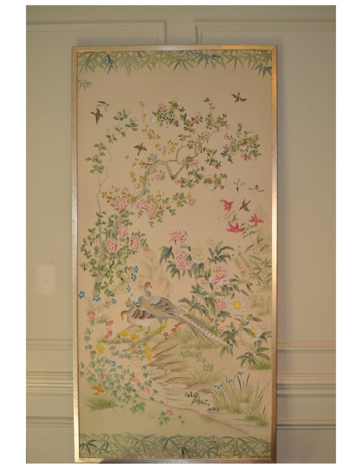 Anne Buresh Interior Design. Framed Hand Painted on Silk Chinoiserie motif Measuring 30 x 60.  Valued at $1650. Buy it now $1800. Contact Page Gatewood for more information at bow829@aol.com