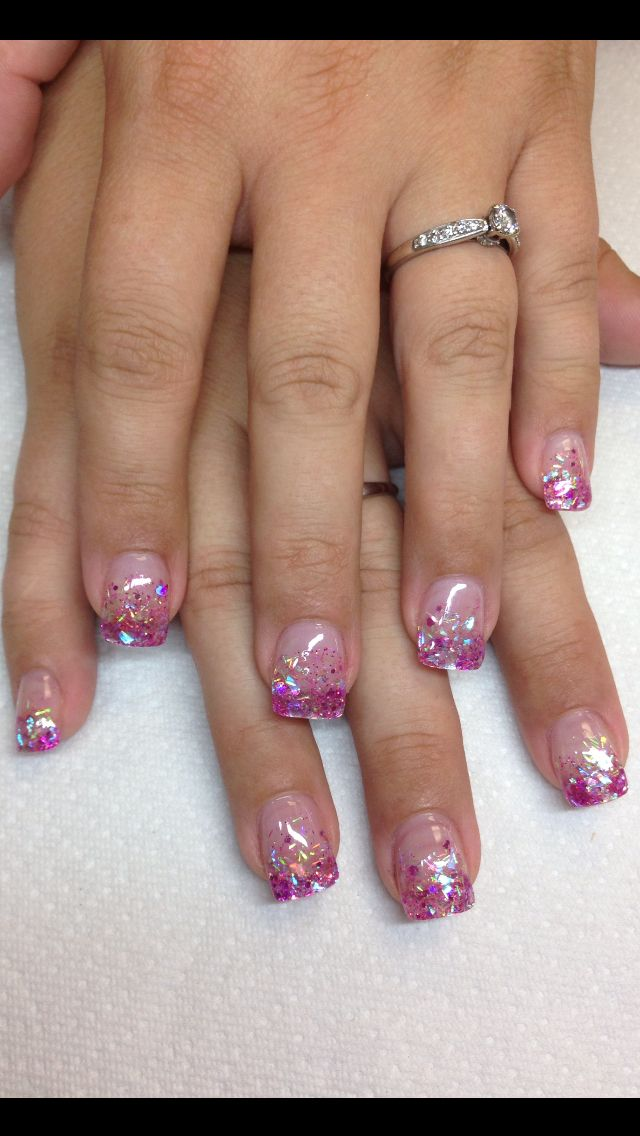 Rock Star pink glitter fade!!  Nails by Andrea