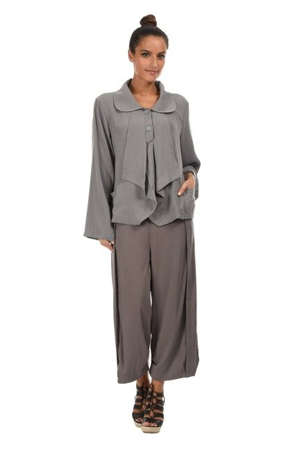 Ozsale - Silk Blend Long Sleeved Jacket Riva Grey by Bella Blue. price was $109 and is now $35.