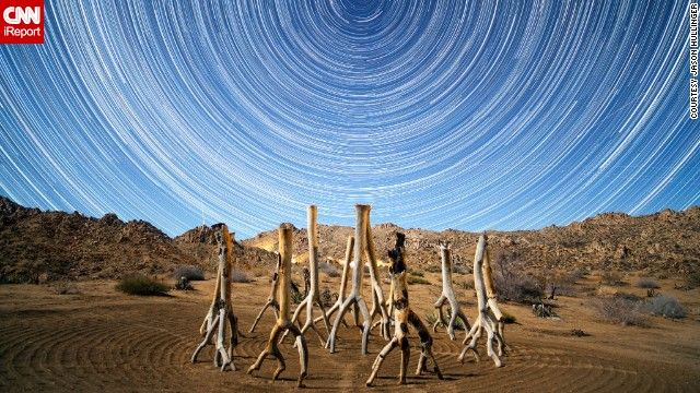 <a href='http://ireport.cnn.com/docs/DOC-1068716' target='_blank'>Jason Hullinger</a> went to Joshua Tree National Park last December to catch the Geminid meteor shower. He set up his tripod to take 20-second exposures from about 11 p.m. Thursday to 3 a.m. Friday. He took about 500 photos and combined them with StarStaX, an image stacking and blending software for star trail photography.