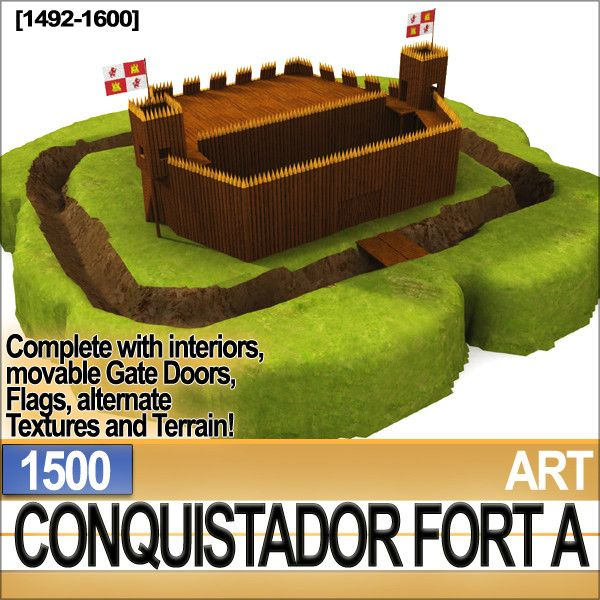 Conquistador Fort A 1500 with interiors. Type of Fort built by Columbus, Balboa, Ponce de Leon and the others in Florida, California, Mexico, Peru etc. Faithful Reconstruction. C4D, 3DS, OBJ, DAZ, VUE6to12!