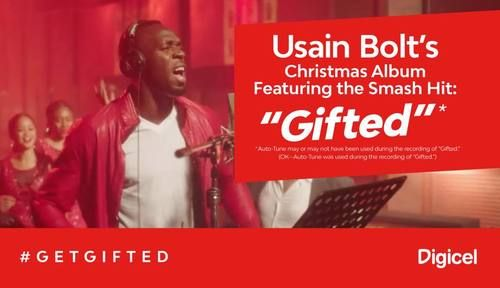 Top of the podium. Top of the charts. Get Gifted this Christmas with Digicel. Usain Bolt, November 2016