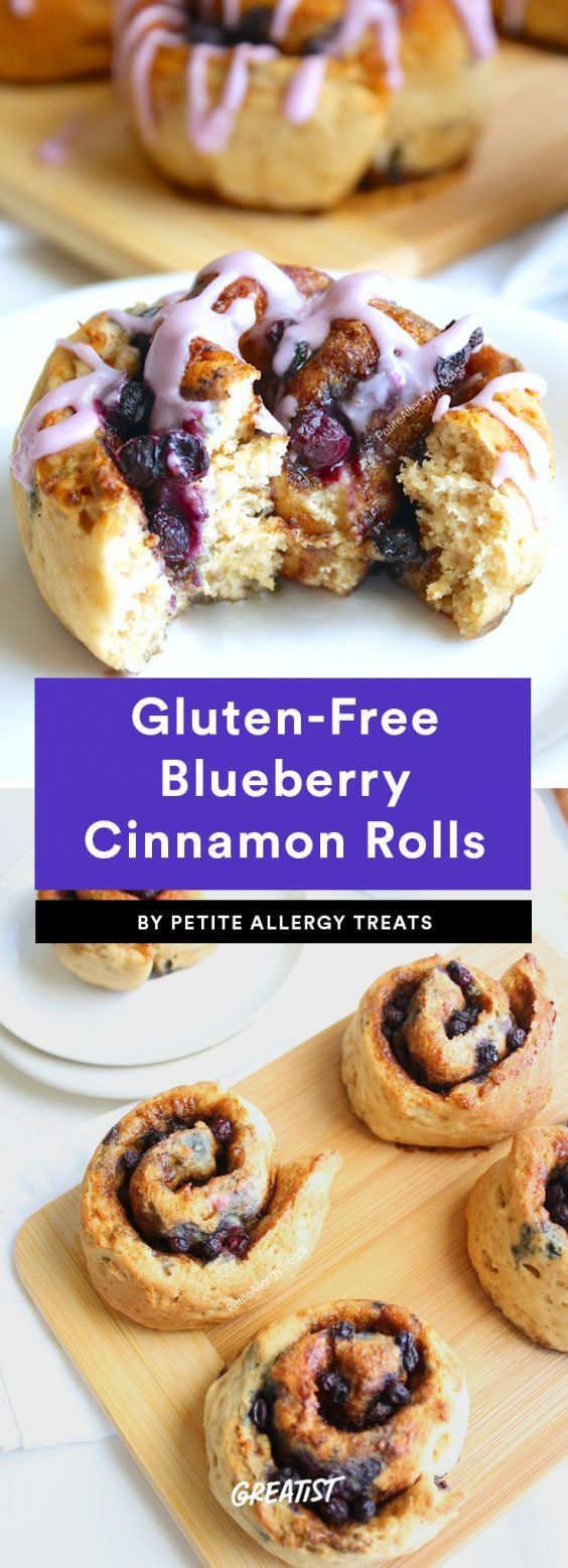 Gluten-Free Blueberry Cinnamon Rolls  Just like blueberry pancakes or waffles, blueberry cinnamon rolls add some natural sweetness and a pretty bright blue to your breakfast. These rolls are also gluten-free, dairy-free, and soy-free, so if you've got friends/kids/spouses with allergies, they may be a good option.