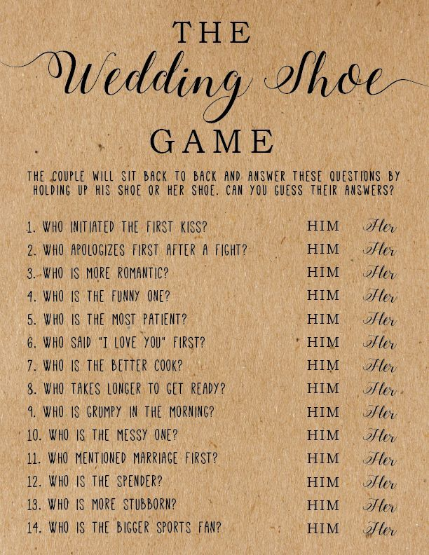 The Wedding Shoe Game – the big day