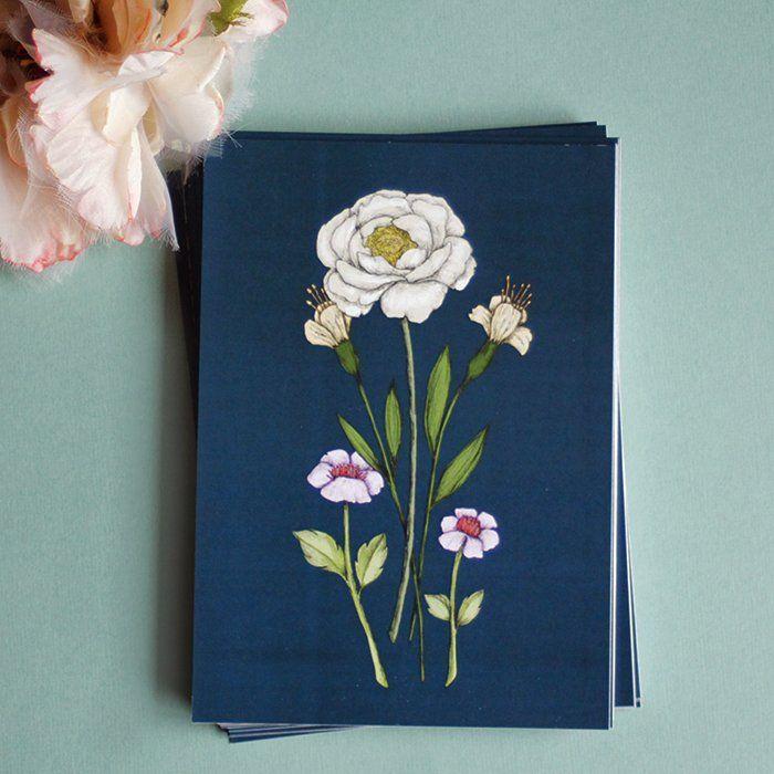 "Carte postale ""Flora Dark Blue"" — MinaSmoke"