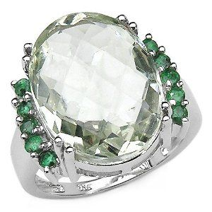 Green Amethyst and Emerald Cocktail Ring #rings #ring