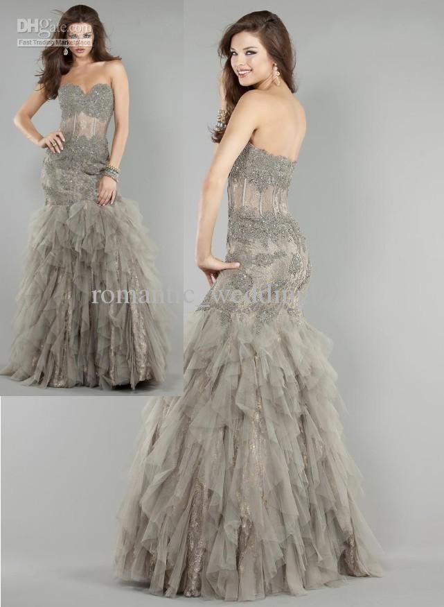 Wholesale Prom Dresses - Buy Afforable Grey Tulle Lace Sweetheart Formal Event Gowns Corset Sheer Sexy Mermaid Prom Dresses, $146.08 | DHgat...