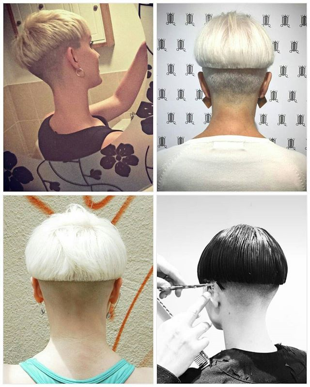 WEBSTA @ luvbowlcuts - An awesome #bowlcut more often than not looks amazing from the back as well as in front. Here's four great examples starting clockwise from top left.@sarahdaisyweller, @dominahair, @tristinmorrison, and @wiphairport. #bowlcutrevolution #bowlcutsarebackbaby