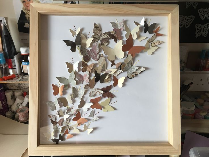 Box frame with butterflies made for a present