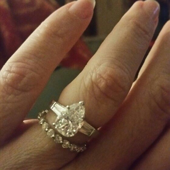 Pear And Baguette Harry Winston Engagement Ring With Shared G Memoire Wedding Band