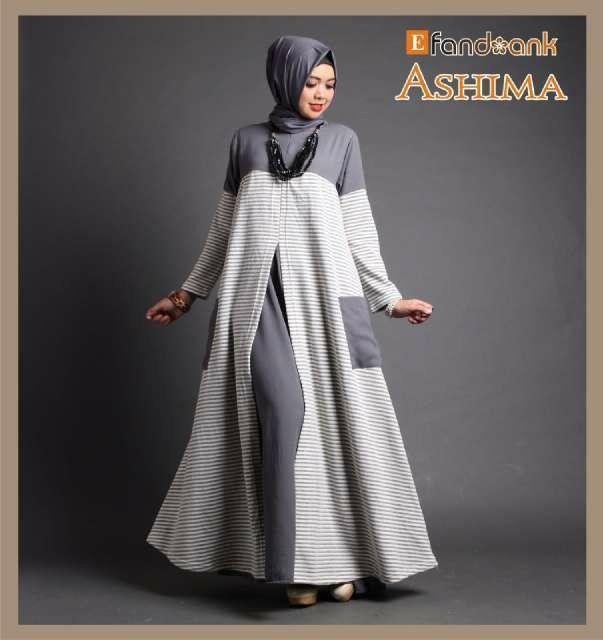 Ashima Dress by Efandoank NO PASHMINA  Detail + Sizepack Ashima dress (IN-Ezo)  Modern cutting dress bahan premium baby terry stripe mix wolly crepe polos  Resleting depan ( busui friendly)  Panjang 143cm  LD 104cm  All size fit to XL