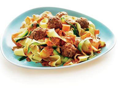 Dessa köttbullar i het pestosås kanske är italiensk snabbmat när den är som bäst? Spana efter råa köttbullar i affären. Gör annars egna eller köp pannfärdiga.