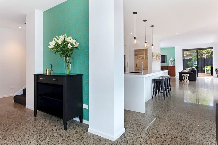Open plan entrance, kitchen and living spaces