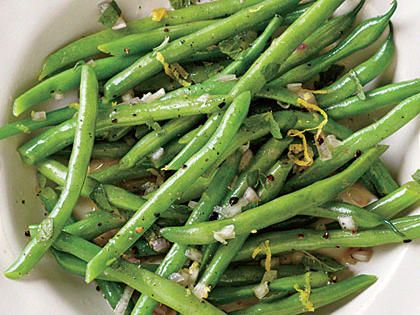 Steamed Green Beans with Lemon-Mint Dressing | Instead of mint, tarragon or basil would be equally delicious. If desired, top with fresh lemon rind for a little extra zing.