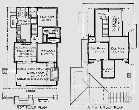 Bungalow floor plans small craftsman house plans 2 story for Small craftsman bungalow house plans