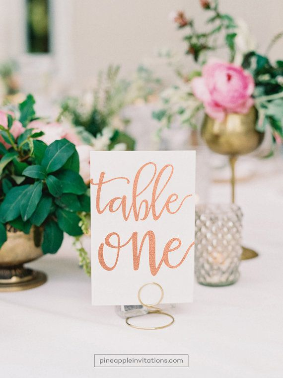 Veronique Rose Gold Foil Table Numbers by pineappleinvitations