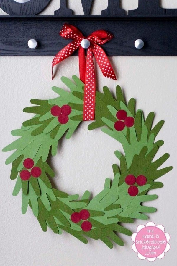 Christmas Decorations Craft Ideas Part - 20: Hand Wreath DIY Christmas Wreath Handprint Prekindergarten/ Early Education  Childrenu0027s Art And Craft Holiday December Christmas