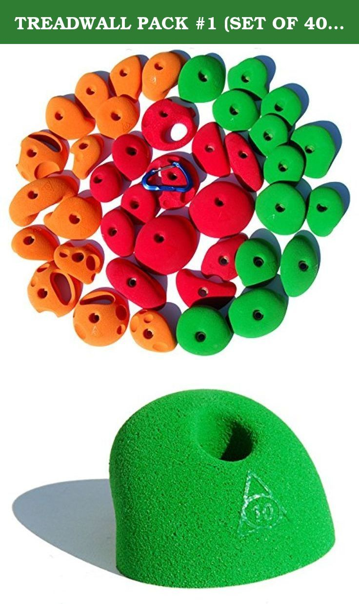 TREADWALL PACK #1 (SET OF 40) | Climbing Holds | Green, Orange & Red. Set of 40 holds each individually labeled with numbers 1 through 40 with arrows pointing to the place where it is the easiest to hold. #1 to #13 (green in the photo ) are all really positive jugs. #14 to #28 (orange in the photo ) offer some fun challenges but not too crazy. #29 to #40 (red in the photo) offer pinches, slopers, pockets; the whole shebang of training. Designed for routesetting software for the Treadwall....