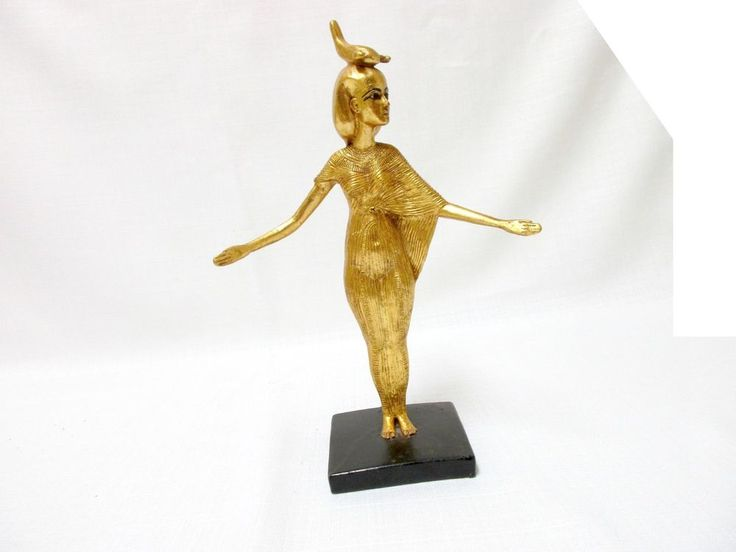 Goldleafed Cultured Marble Egyptian Woman statue with inscription