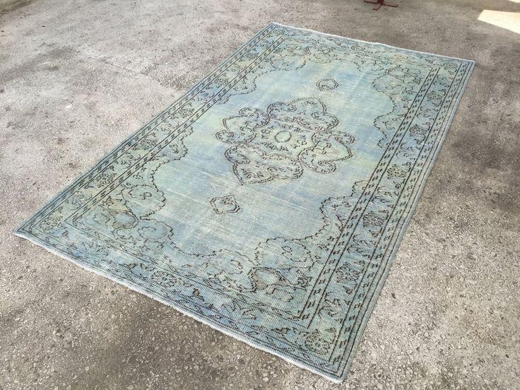 Ice Blue Turkish Motif VINTAGE ANATOLIAN OVERDYED Rug Carpet 9'3 x5'9 by EclecticRug on Etsy