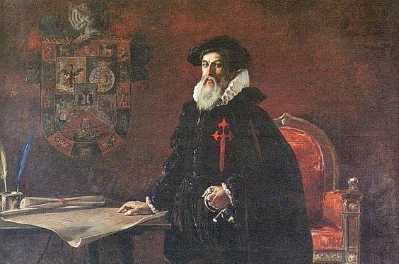 Portada - Francisco Pizarro, óleo de Julio Vila y Prades (1925). Pinacoteca Municipal Ignacio Merino, Lima, Perú. (Public Domain):