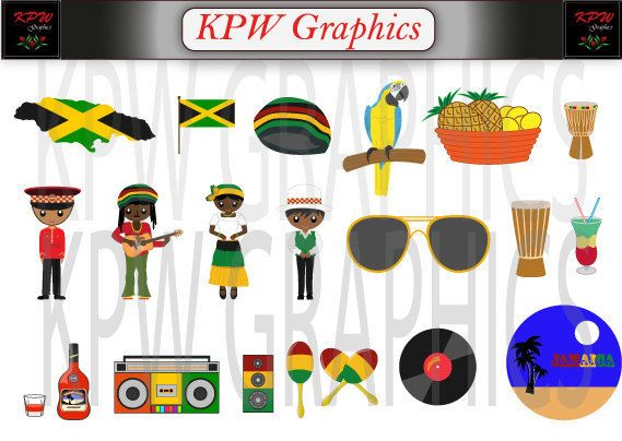 Jamaica  Countries of the World Clipart Set in a by KPWgraphics