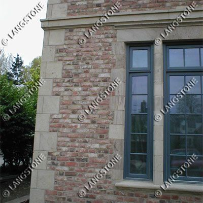 "Butler Sandstone nicely compliment the brick on this house to create an ""old world"" look. Check out our whole design gallery at www.langstone.com"