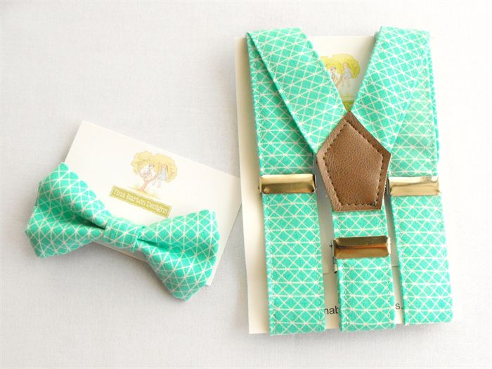 Edmund and Rose on madeit.com offer both boys and girls clothing in gorgeous prints but I can't resist the suspender and bow tie sets! Aqua Geometric Braces and Bow Tie Set. toddler, page boy, cake smash, suspenders