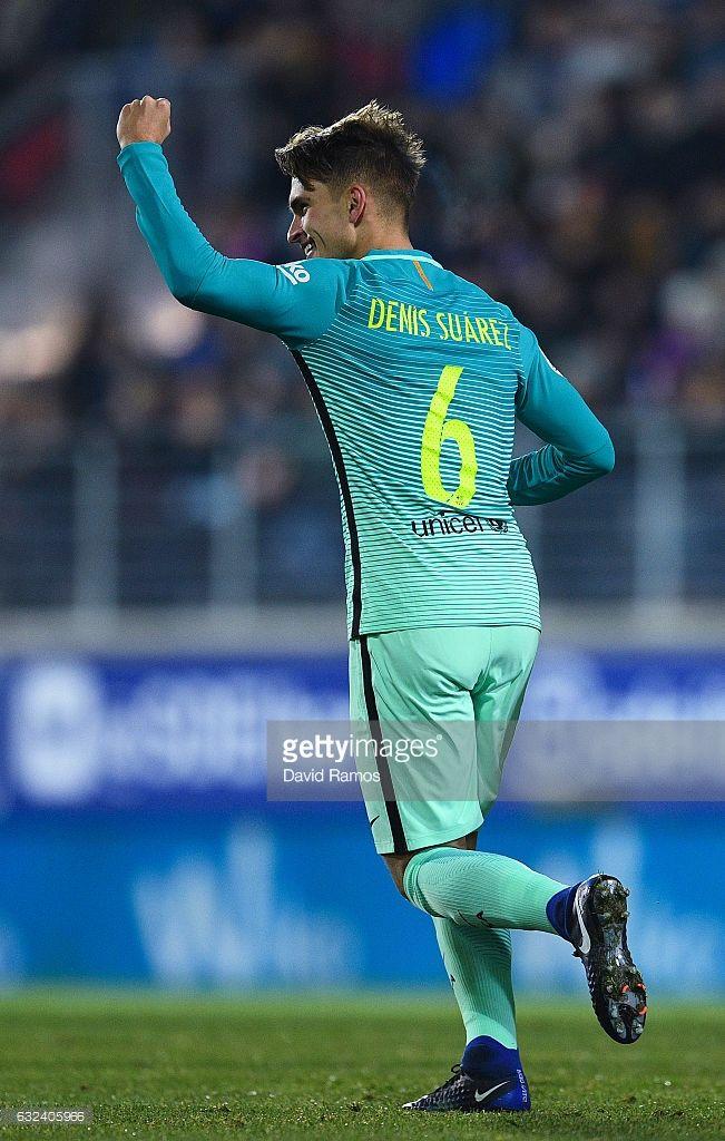 Denis Suarez of FC Barcelona celebrates after scoring his team's first goal during the La Liga match between SD Eibar and FC Barcelona at Ipurua stadium on January 22, 2017 in Eibar, Spain.