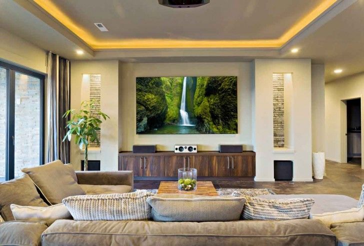 Living Room: Best Living Room Theaters With Wood Credenza Also Downlight And Sofa With Chusion Also Wood Coffe Table: Are You Dream of Best Living Room Theaters? Make it Real Here!