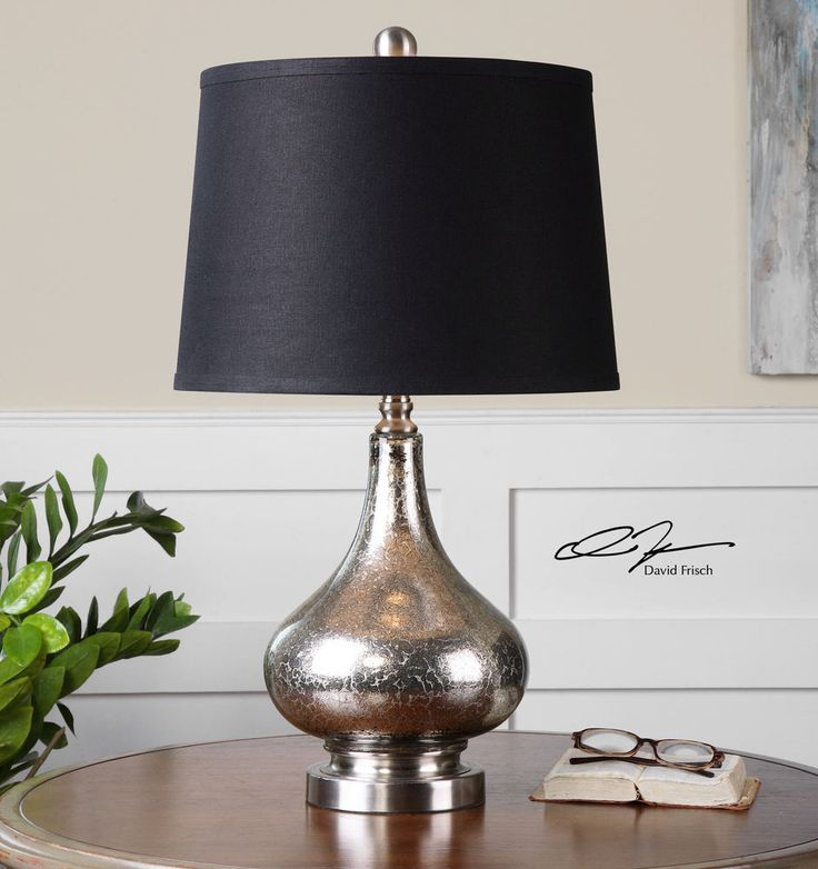 """27"""" SILVER MOTTLED MERCURY GLASS TABLE LAMP SILVER NICKEL ACCENTS READING LIGHT #Contemporary"""