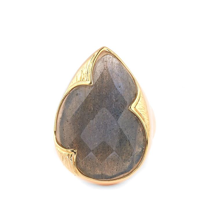 An astounding Ring from The Sarah Bennett Collection in 14k Gold Flash Sterling Silver Ring featuring 17.77ct of gorgeous Labradorite from Madagascar.