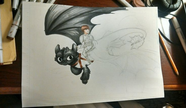 A WIP of a How To Train Your Dragon 2 print I've been working on.