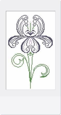 Iris - Cross Stitch Pattern. I've done several iris cross stitch pictures and they come out so very pretty!