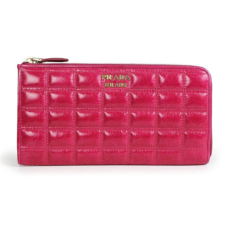 Prada Clutch Wallet Vitello Shine Quilted Leather Fuchsia Hot Pink
