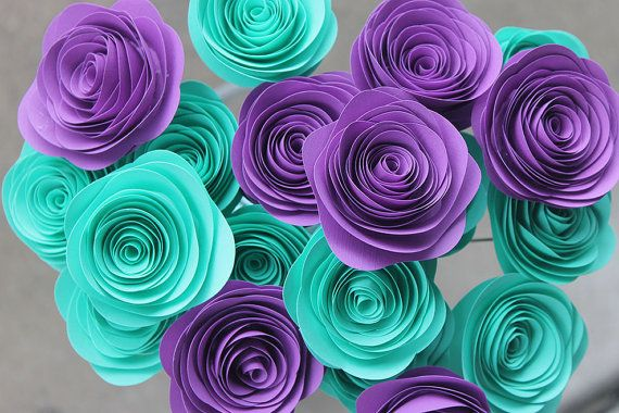 """POSSIBLE WEDDING COLORS Teal and Purple Paper Rosette Bouquet 2"""" - Wedding - Home Decor - Gift - Party - Baby Shower"""