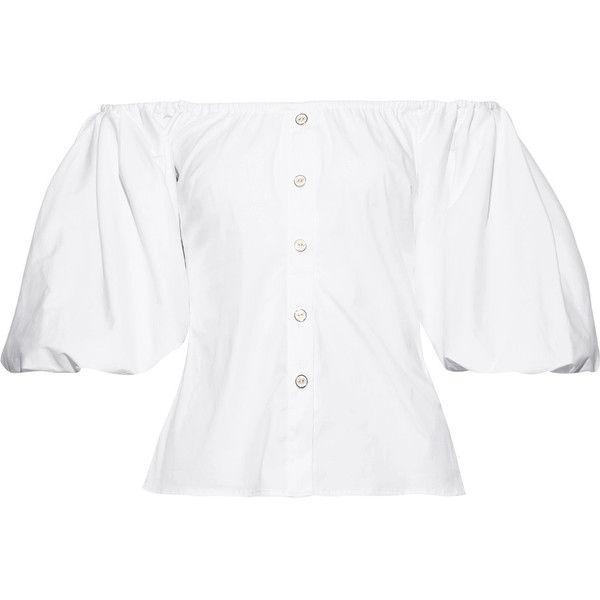 399fed888306c9 Caroline Constas Jolie off-the-shoulder cotton-blend poplin top ...
