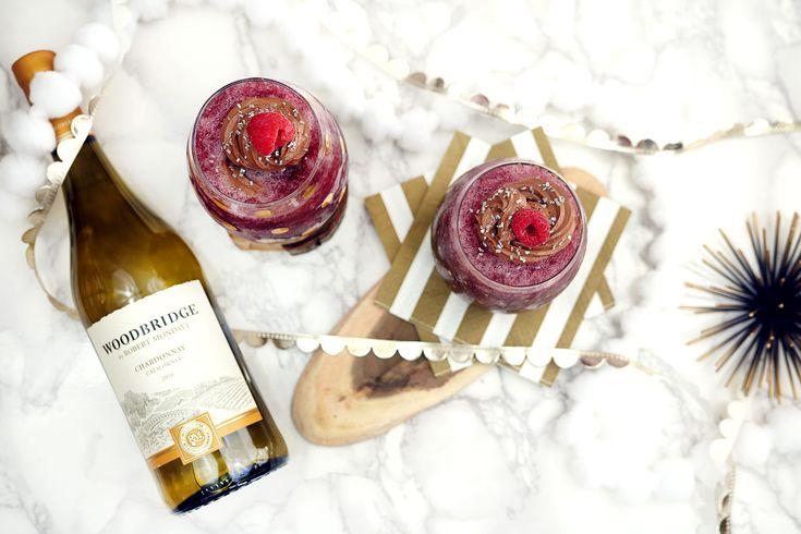 Glitzy Holiday Wine Slushies with Chocolate Whipped Cream