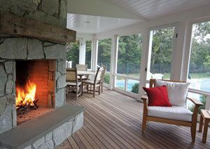 wraparound porch with fireplace  i really really love and want this!!!