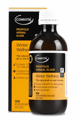 Comvita® Propolis Herbal Elixir is a natural all-in-one herbal formula designed to support winter wellness and to soothe dry throats.