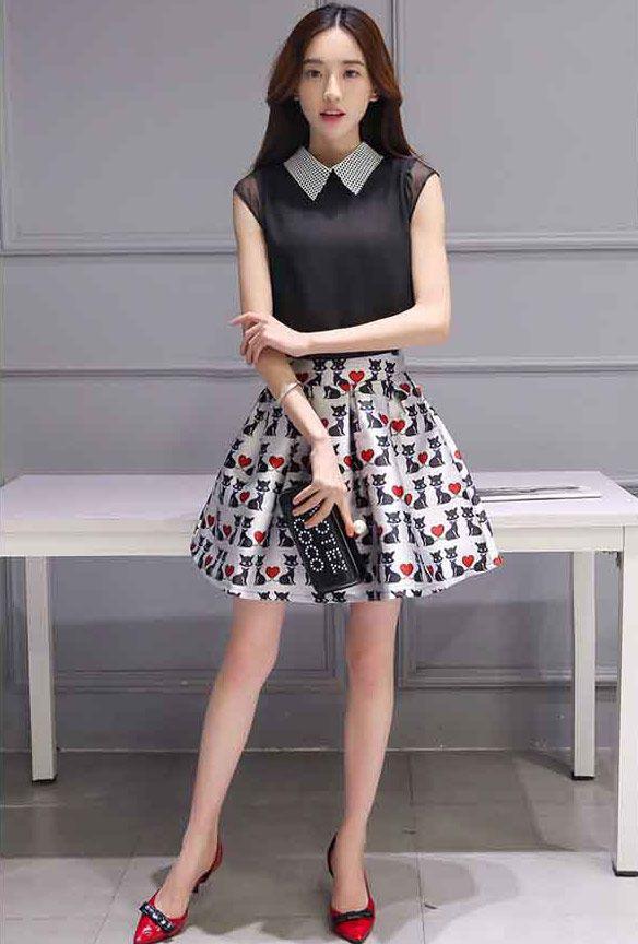 Baju Setelan Rok Pendek Wanita Korea Cantik dan Modis A3017