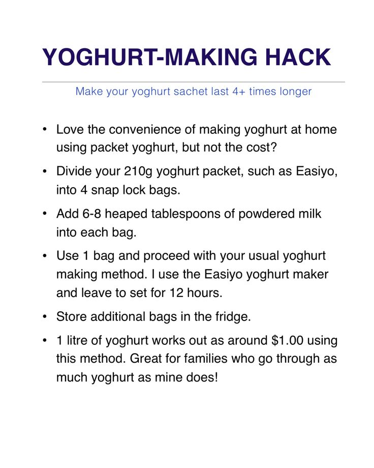 Yoghurt making hack. Make your Easiyo yoghurt packets last 4+ times longer. All you need is powdered milk. Make yoghurt for $1.00 per litre!