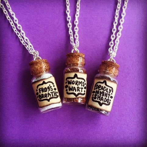 """You Choose One Vial The Nightmare Before Christmas Disney Inspired Necklace Handmade  You will receive ONE vial necklace, you choose! Your options are: -Frog's breath -Deadly night shade -Worm's wort   Chain length measures 18"""". Would make a neat gift for any Disney fan! Thank you for looking!"""
