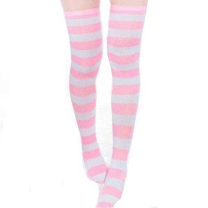 ZANZEA Sexy Lady Over The Knee Thigh High Long Striped Stocking In three Colours Pink thick at Amazon Women's Clothing store: