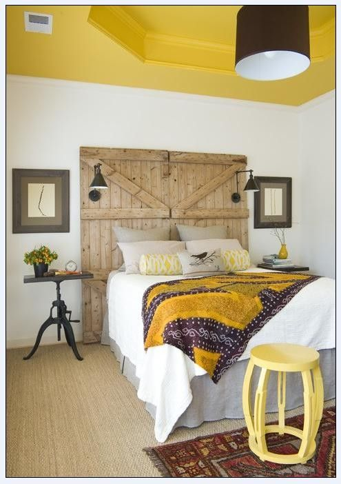 LOVE THE HEAD BOARD IDEA..BUT MORE IN LOVE WITH THE YELLOW CEILING TO MATCH MY YELLOW BARN DOOR LEADING TO THE BATH ROOM :)