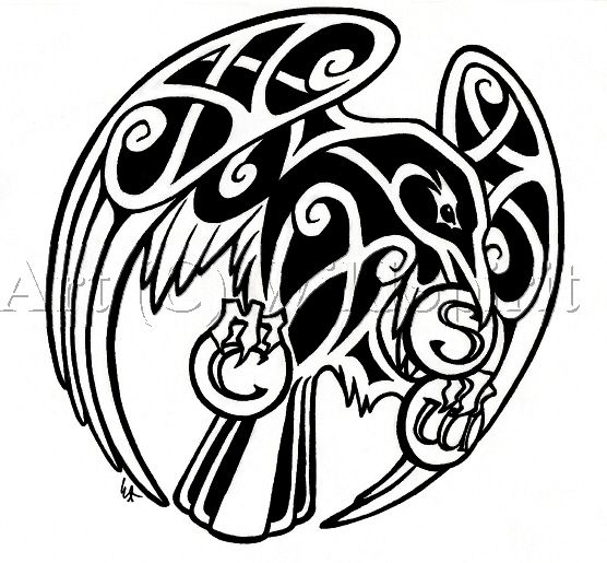 Here's 's completed Celtic raven tattoo design. The raven is holding three medallions, one stands for Courage, one for Serenity, and the third for Wisdom. Hope you like. ^_^ This design w...