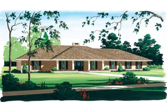 ranch home with hip roof and covered entrance design ideas the house designers Ranch Style House Plan - 4 Beds 2.5 Baths 2719 Sq-Ft Plan #45-153.  Wonderful Design 6 House Plans With Hip Roof ...