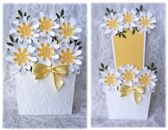 Flower Pot Greeting card with 3D daisy White and by nuts4mccoy, $4.95