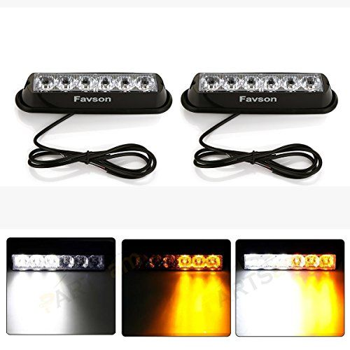 Favson 6 LED Strobe Lights for Trucks Cars Van with Super Bright White&Yellow Emergency Flasher(2 pcs). For product & price info go to:  https://all4hiking.com/products/favson-6-led-strobe-lights-for-trucks-cars-van-with-super-bright-whiteyellow-emergency-flasher2-pcs/